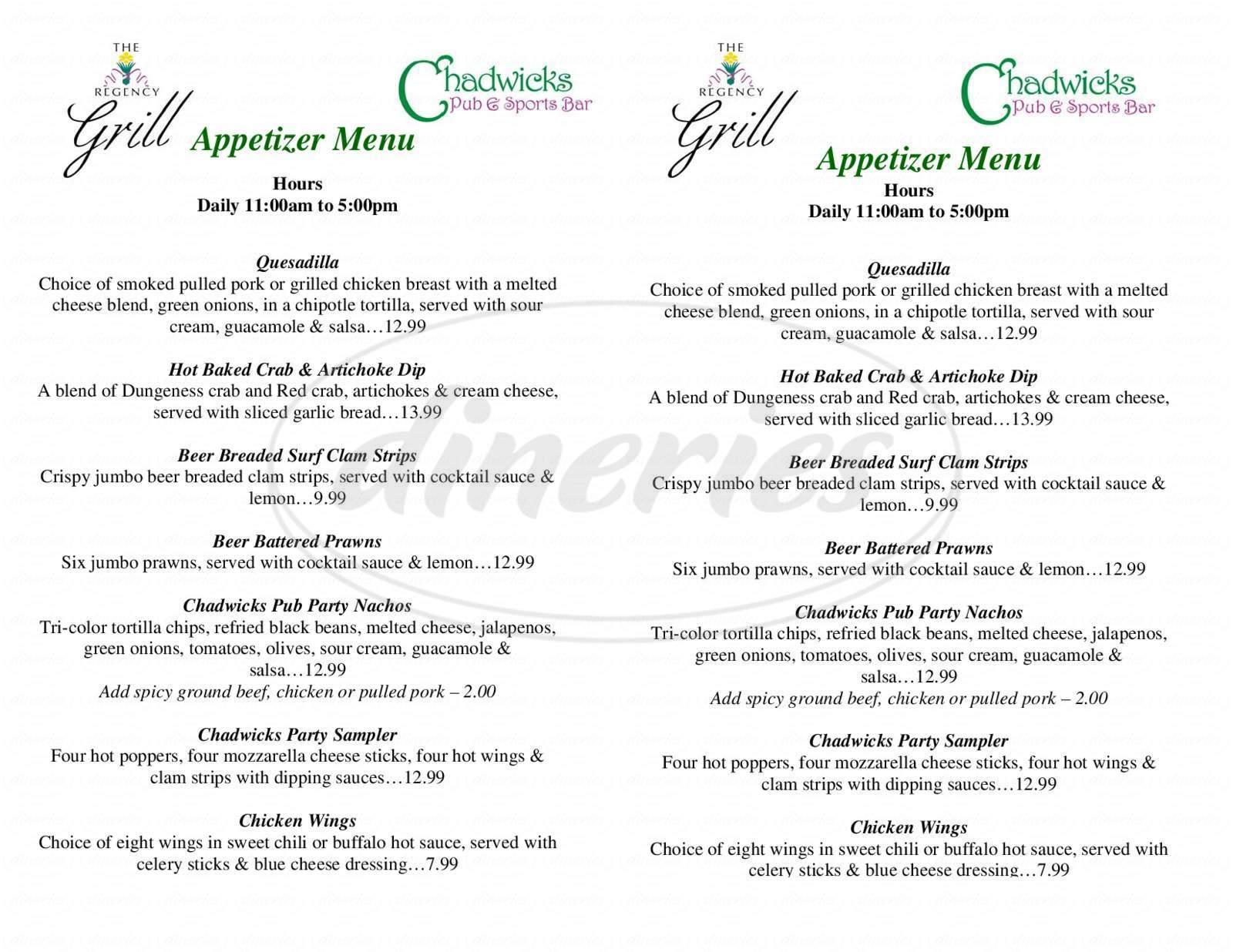 menu for The Regency Grill