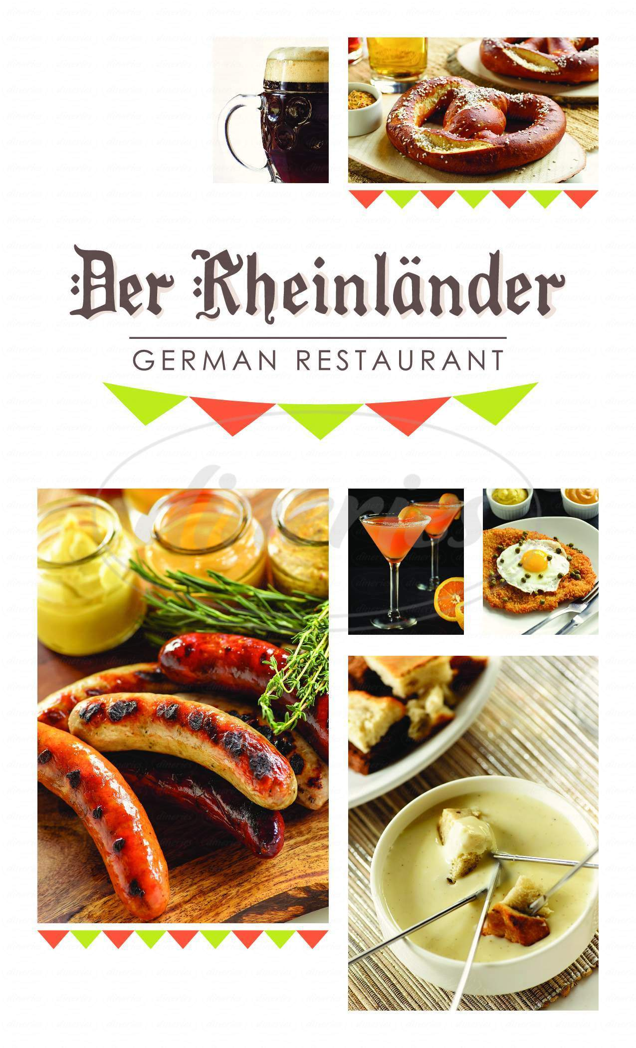 menu for Rheinlander German Restaurant