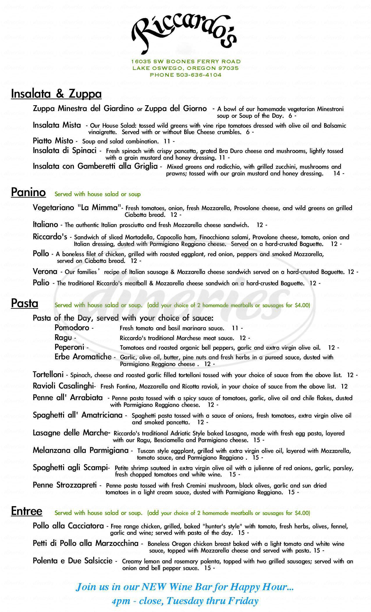 menu for Riccardo's Ristorante