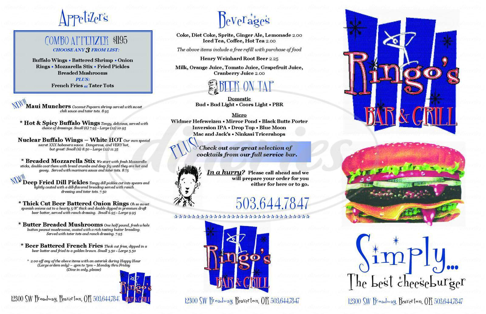menu for Ringo's Bar and Grill