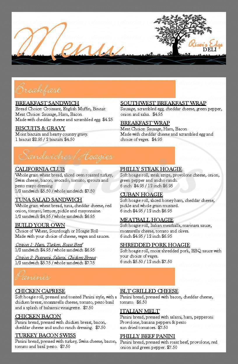 menu for River's Edge Deli