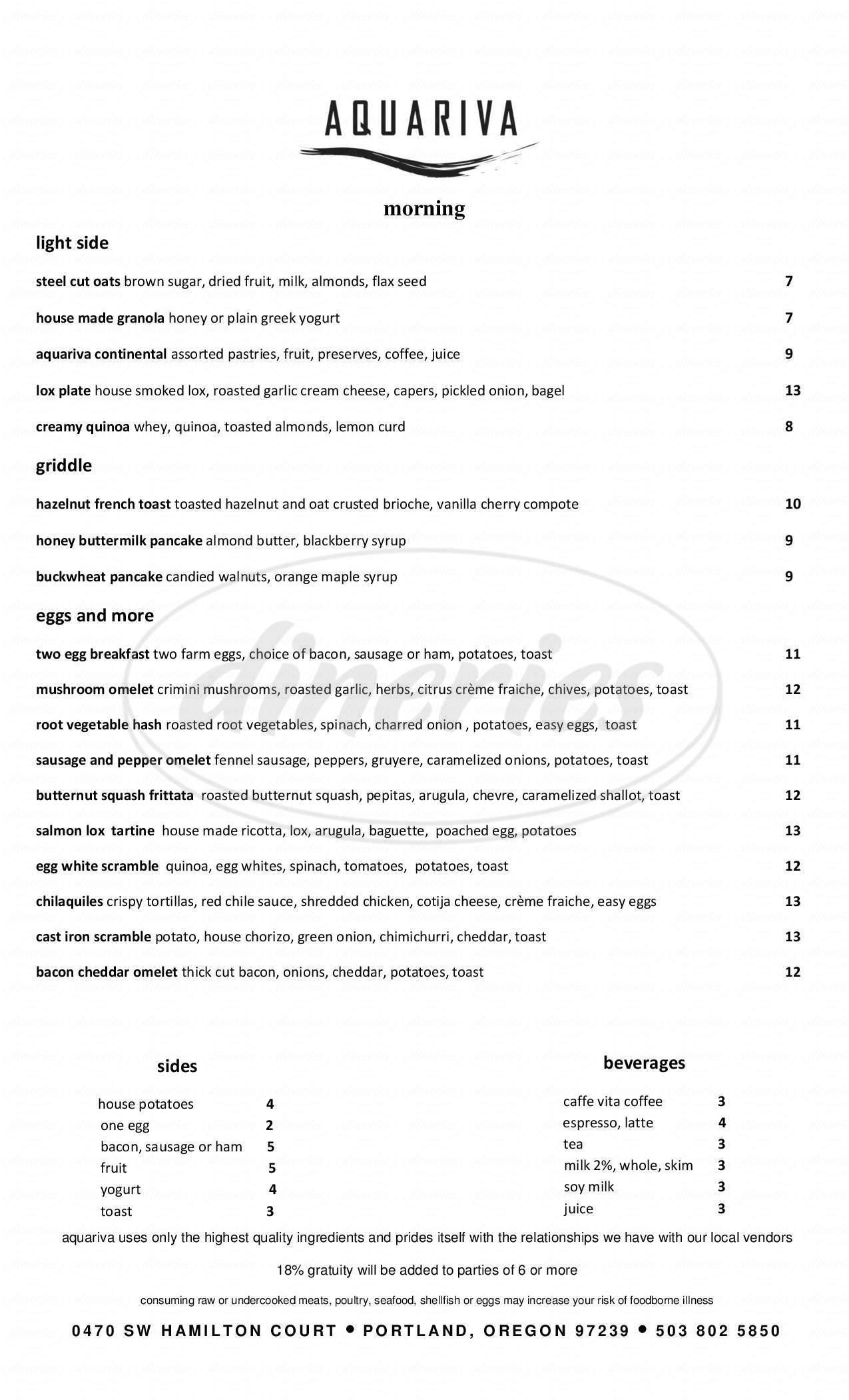 menu for Aquariva