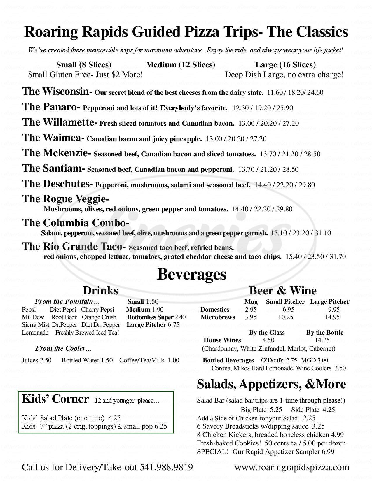 menu for Roaring Rapids Pizza Co