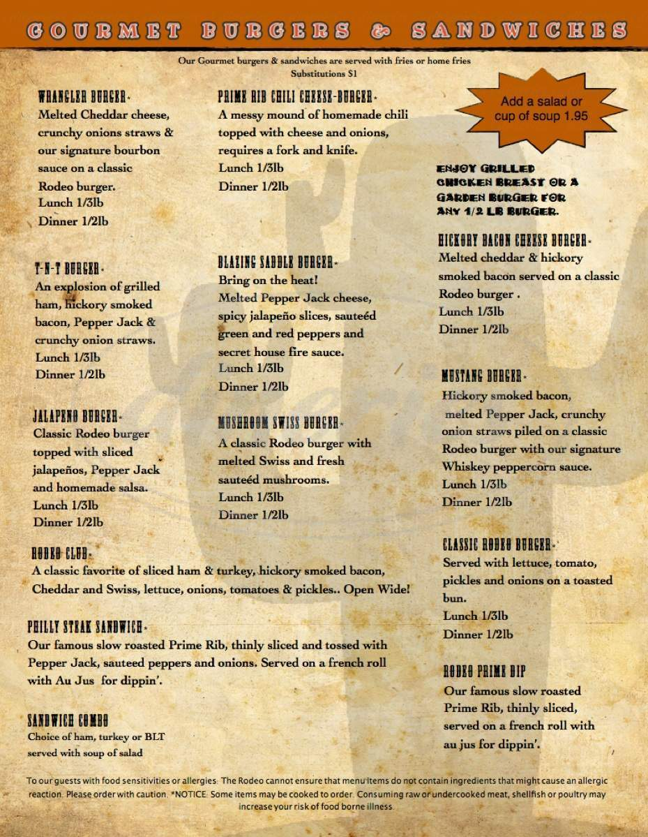 menu for Rodeo Steak House & Grill