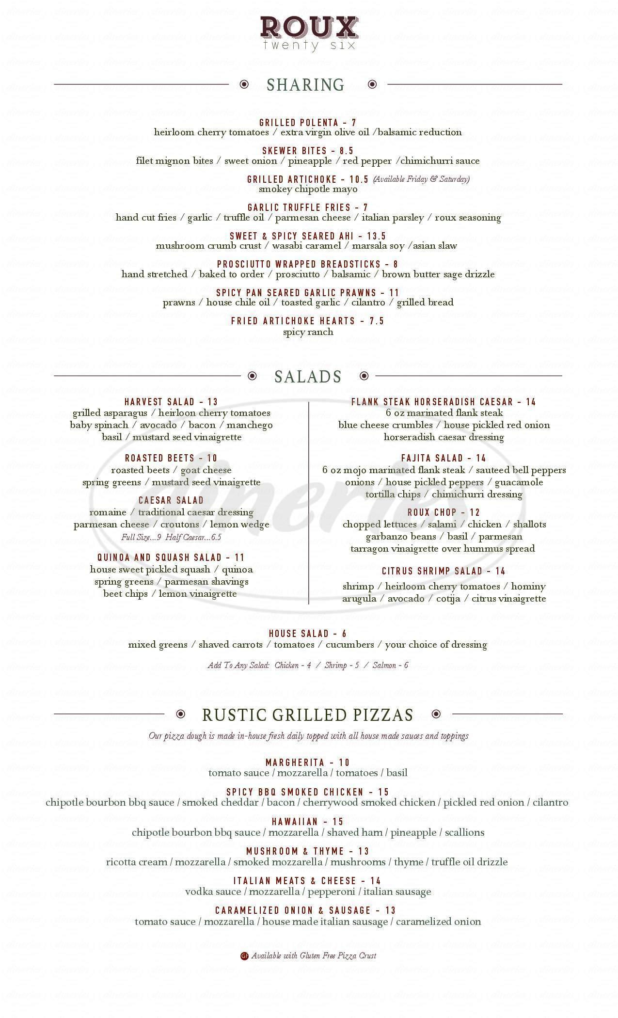 menu for Roux 26