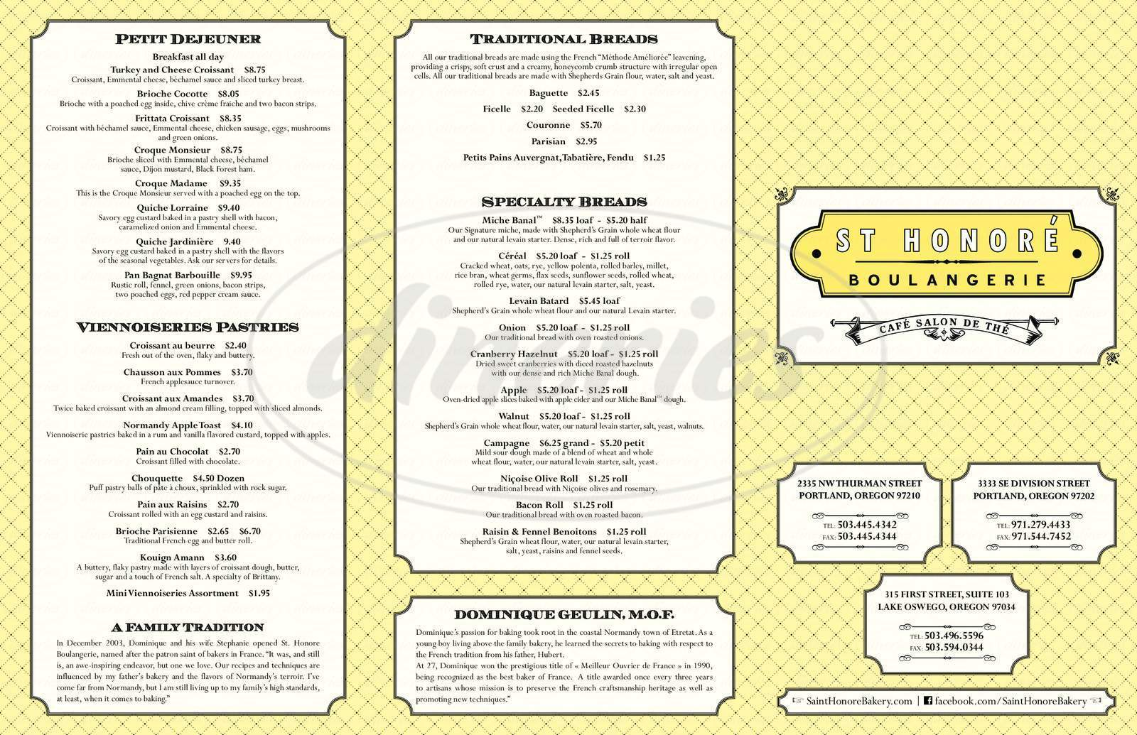 menu for St. Honore Boulangerie