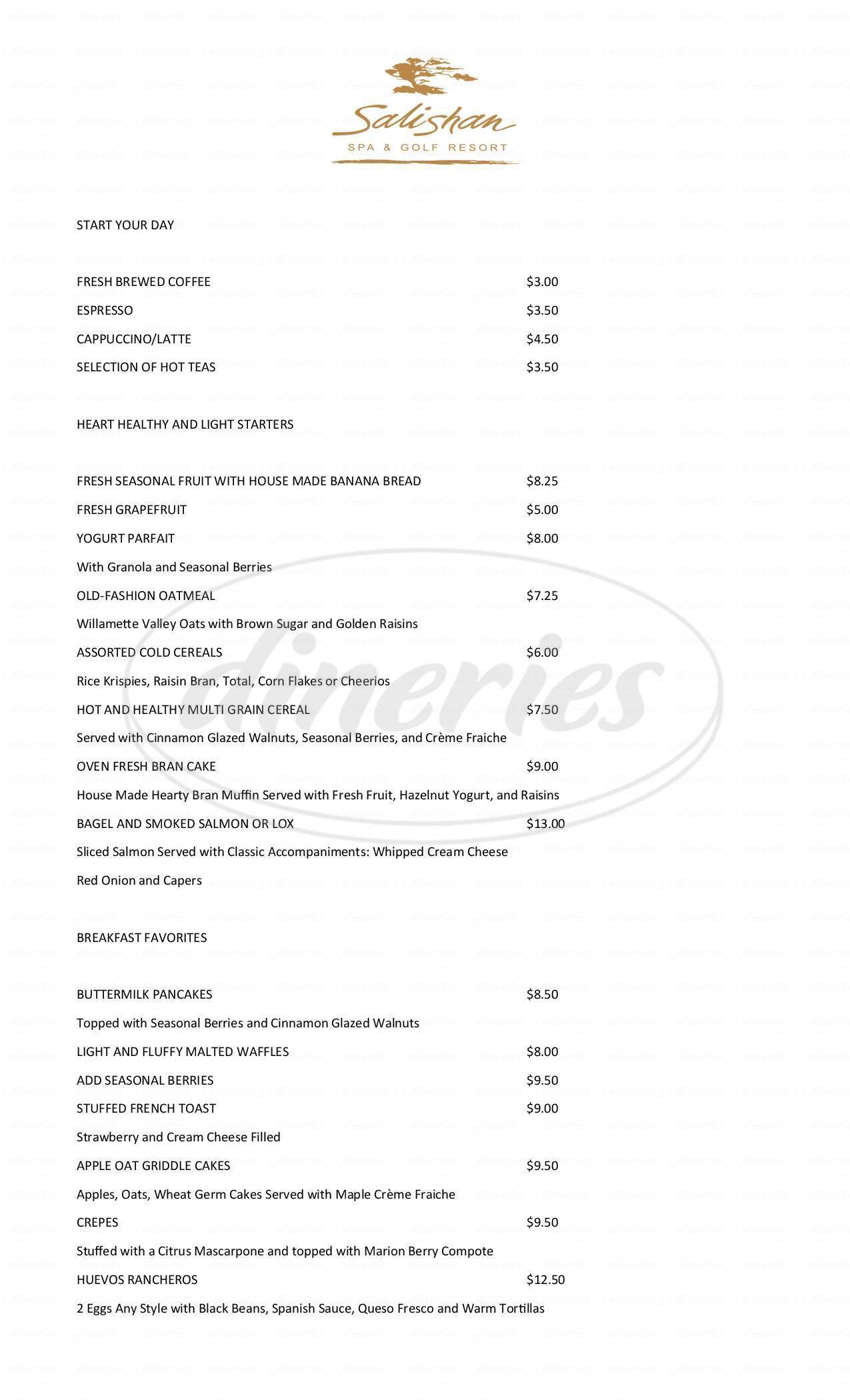 menu for Salishan Spa & Golf Resort