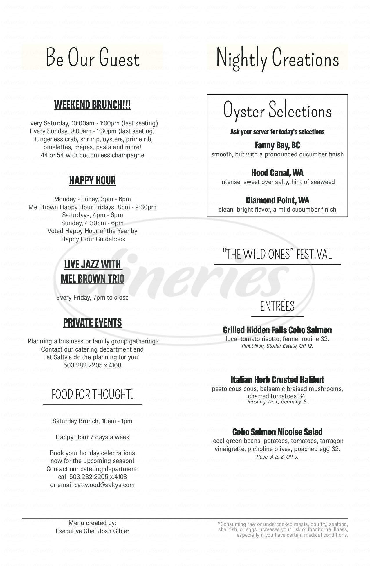 menu for Salty's On The Columbia River