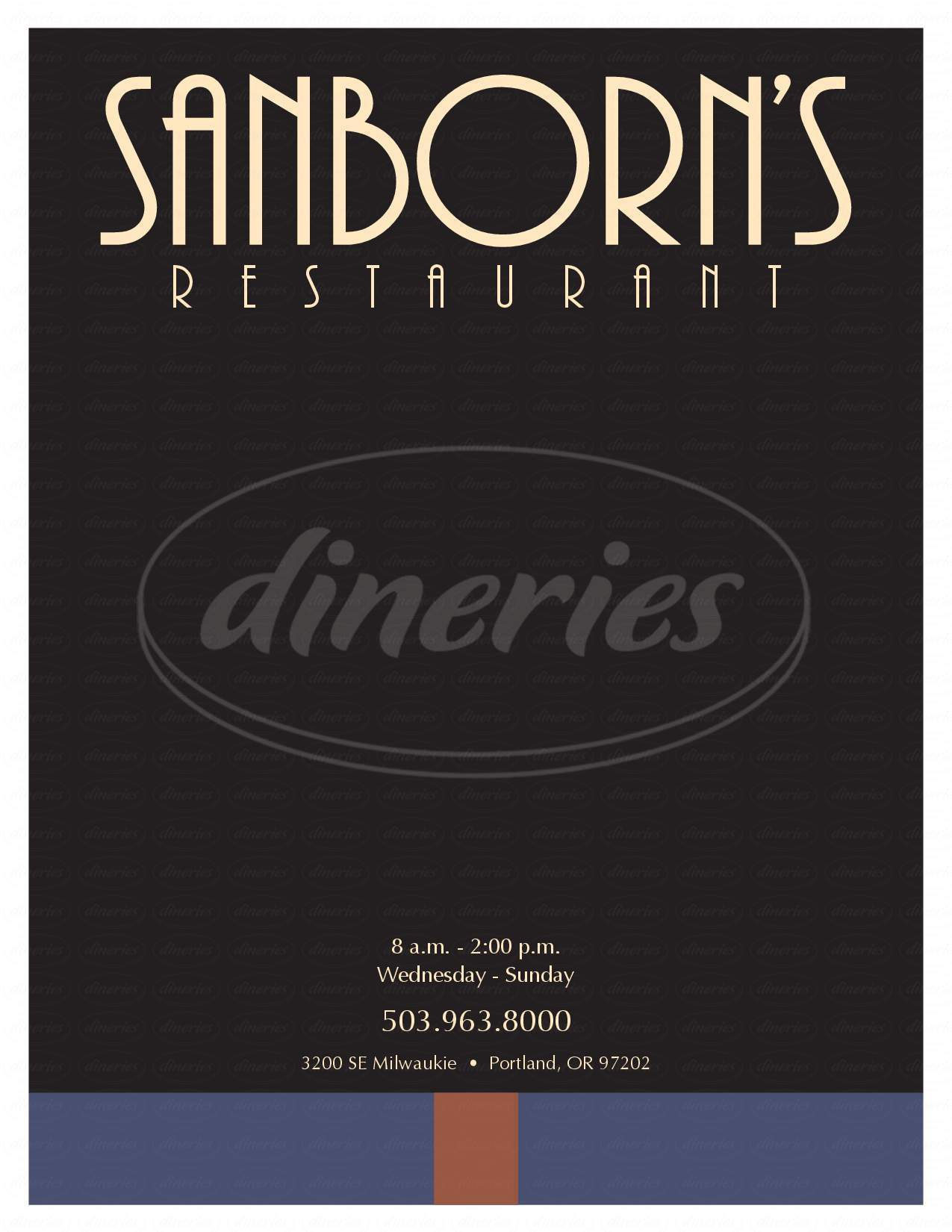 menu for Sanborn's