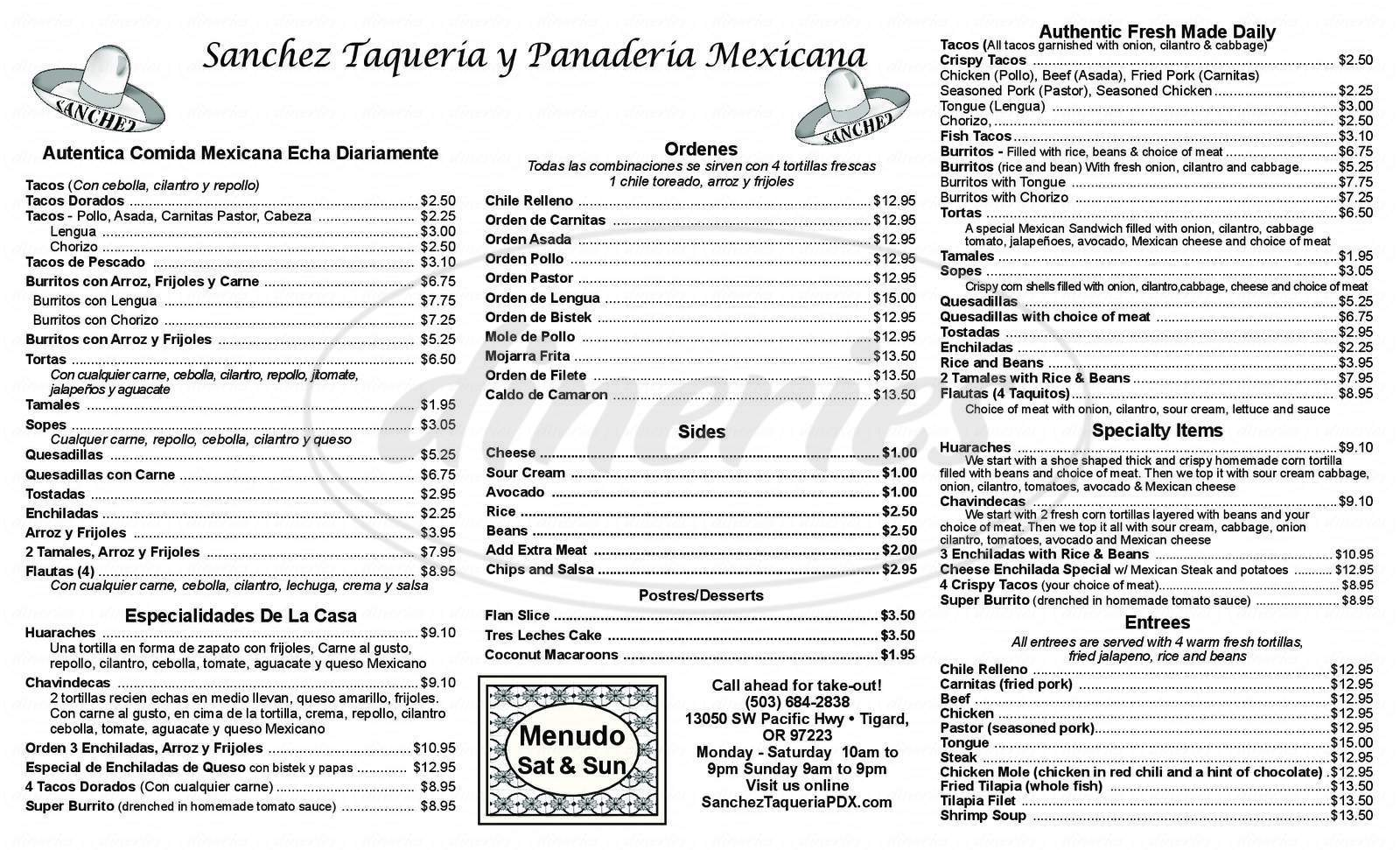 menu for Sanchez Taquería