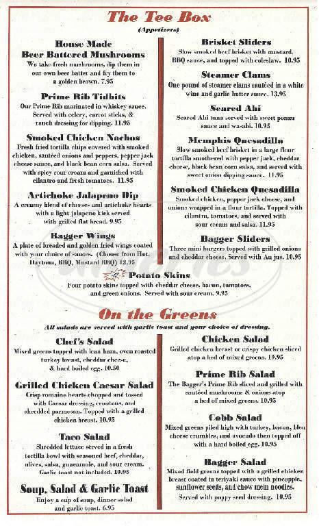 menu for Sandbagger Saloon and Dinner House