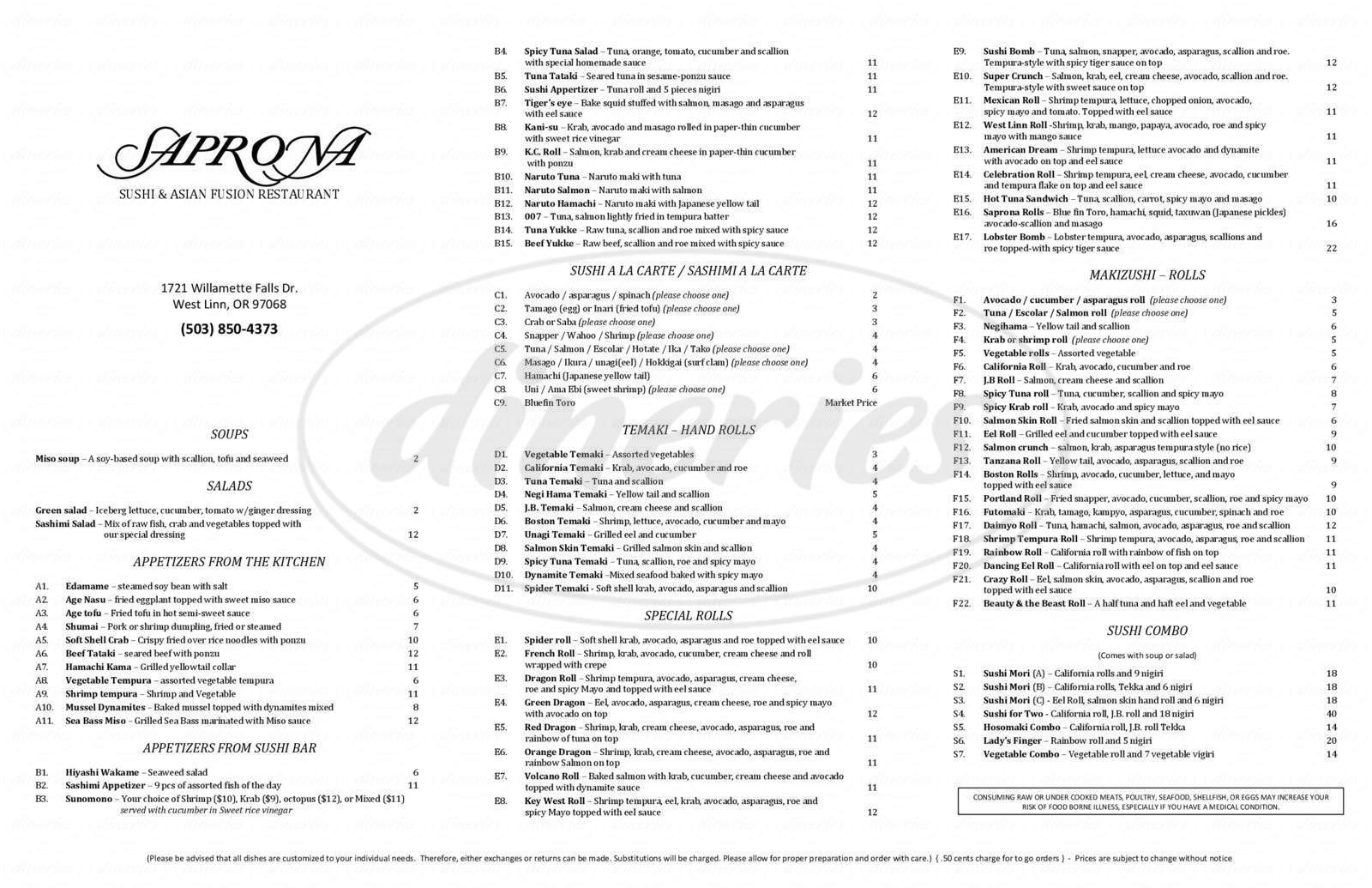 menu for Saprona Sushi