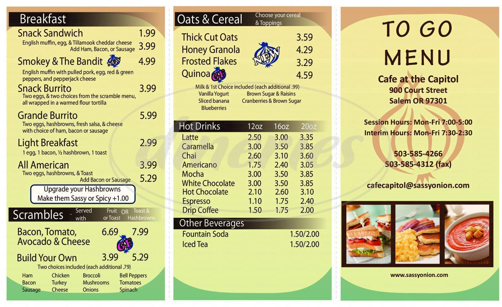 menu for Cafe At the Capital