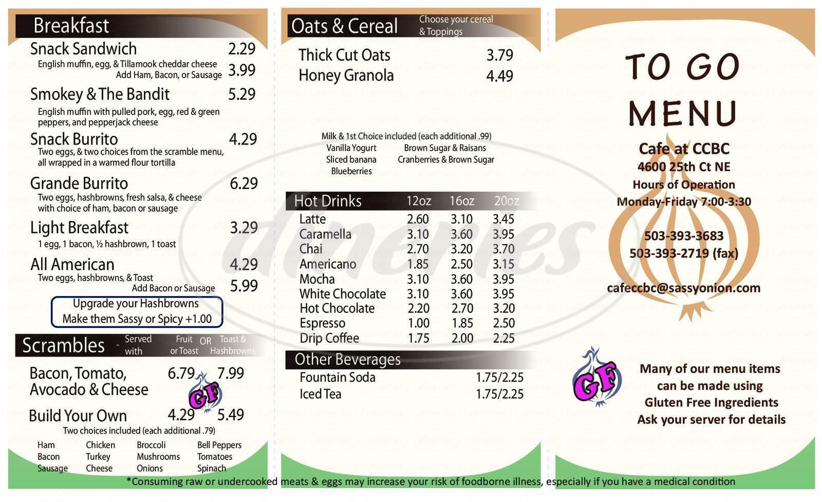 menu for Cafe at CCBC