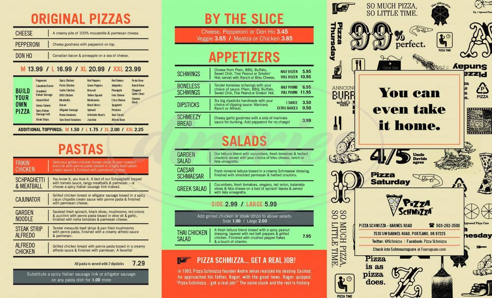 menu for Pizza Schmizza