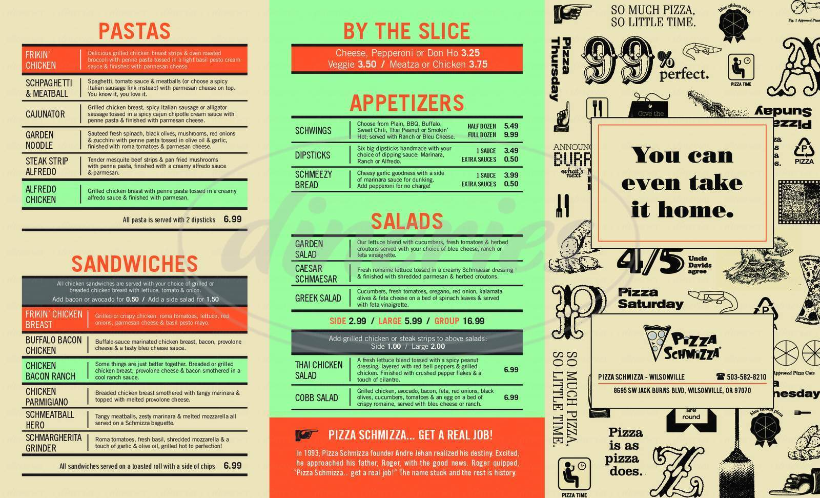 menu for Pizza Schmizza