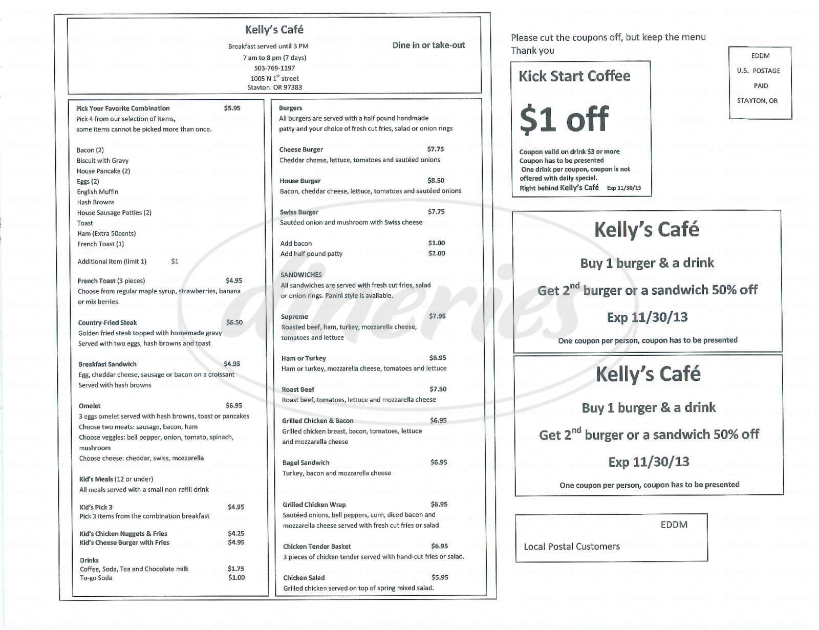 menu for Kelly's Cafe