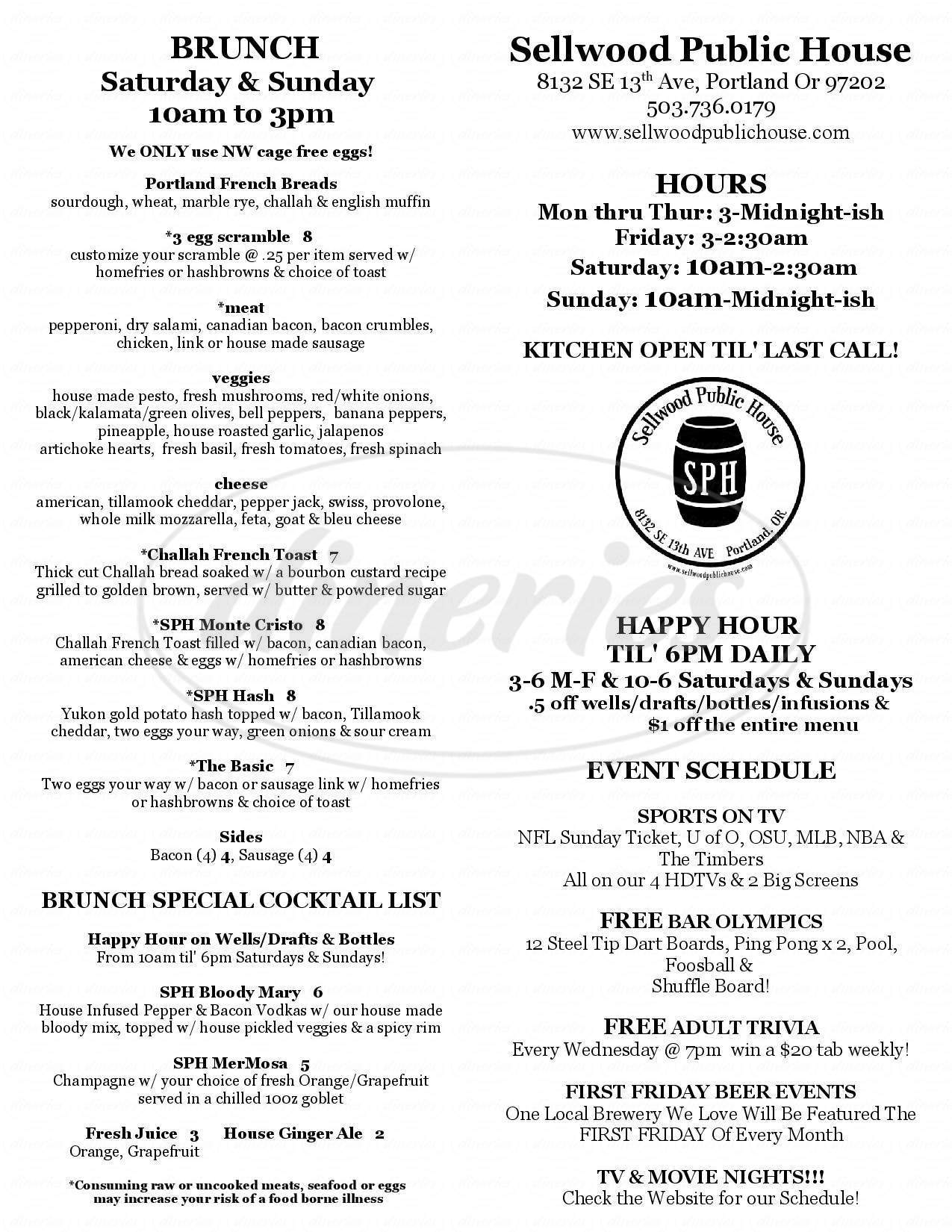 menu for Sellwood Public House