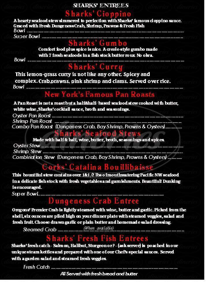 menu for Sharks Seafood Bar & Steamer