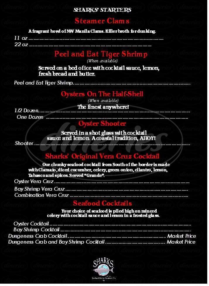 menu for Sharks Seafood Bar & Steamer