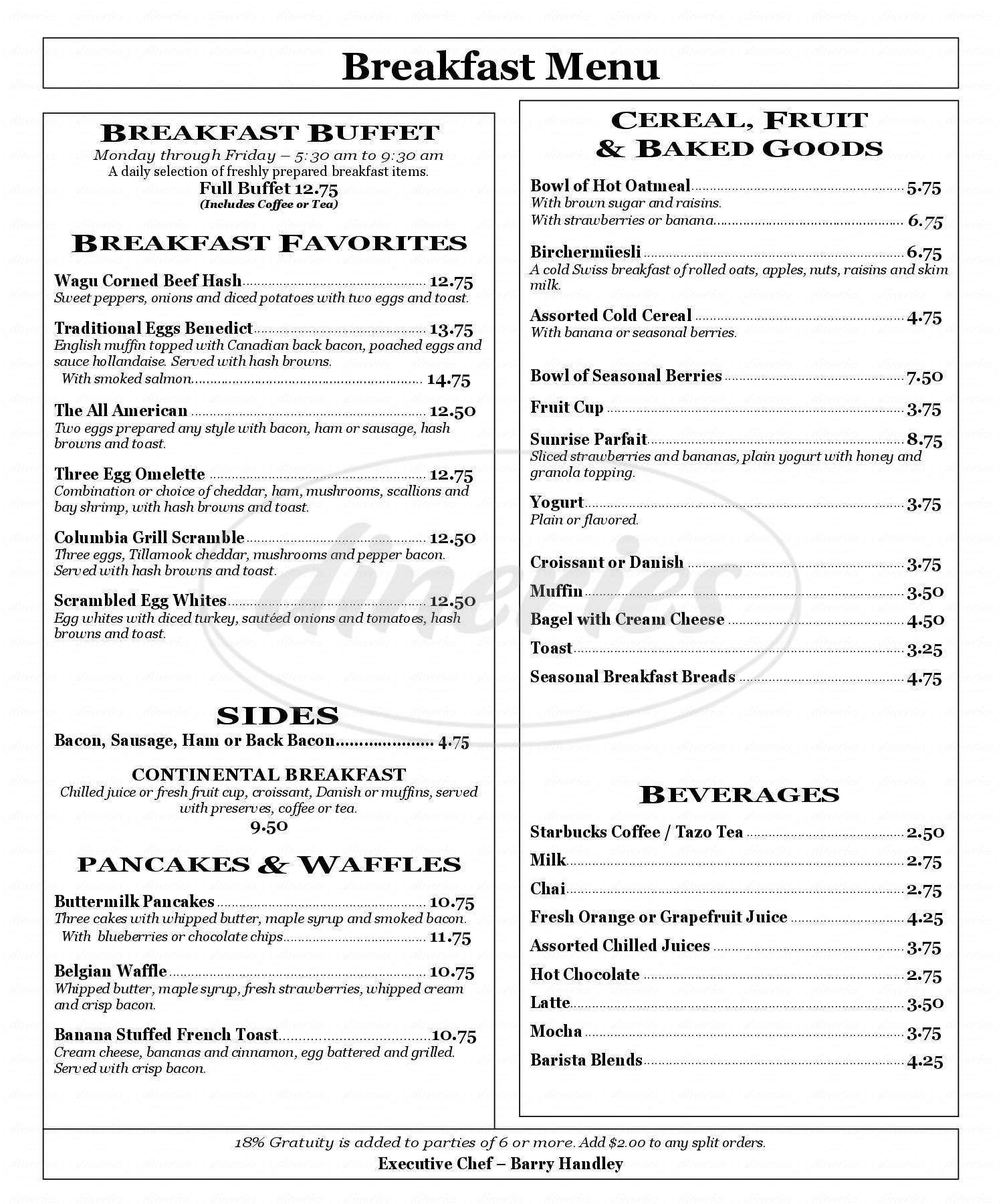 menu for Columbia Grill & Bar