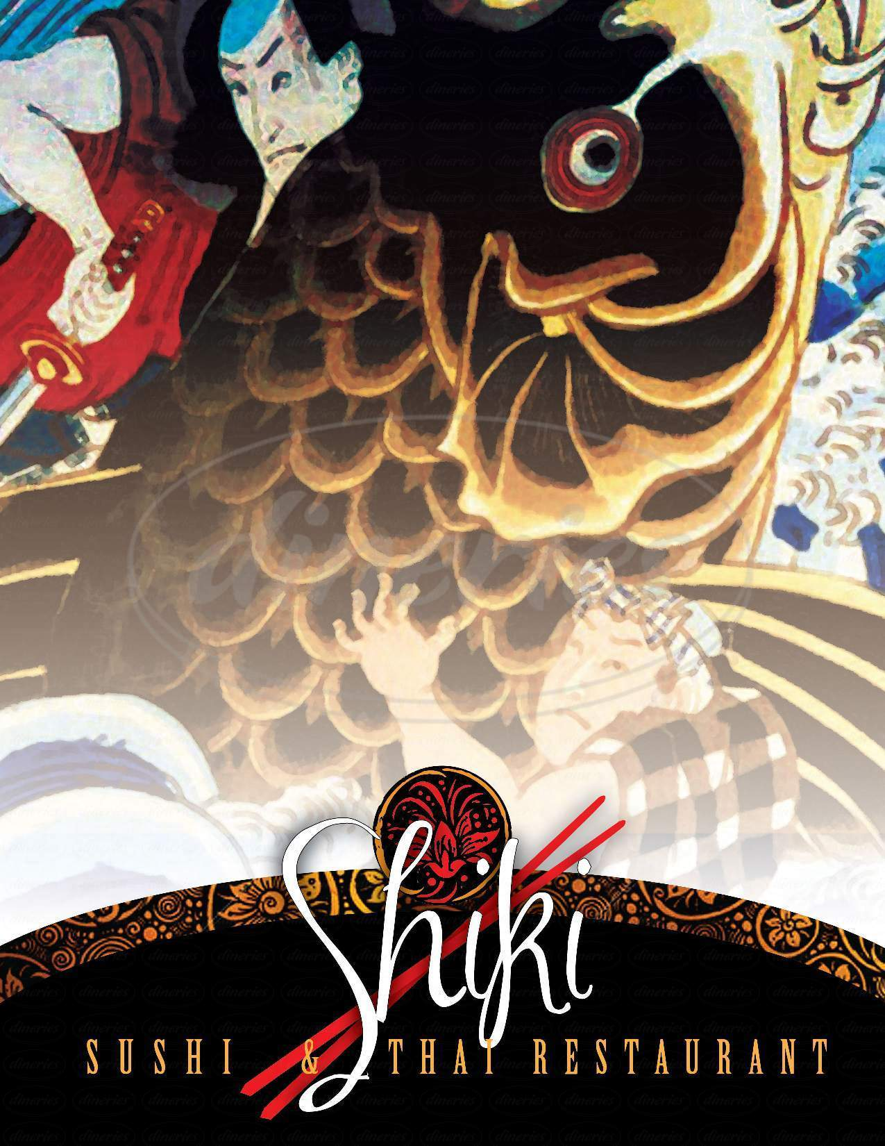 menu for Shiki Sushi Bar & Thai Restaurant