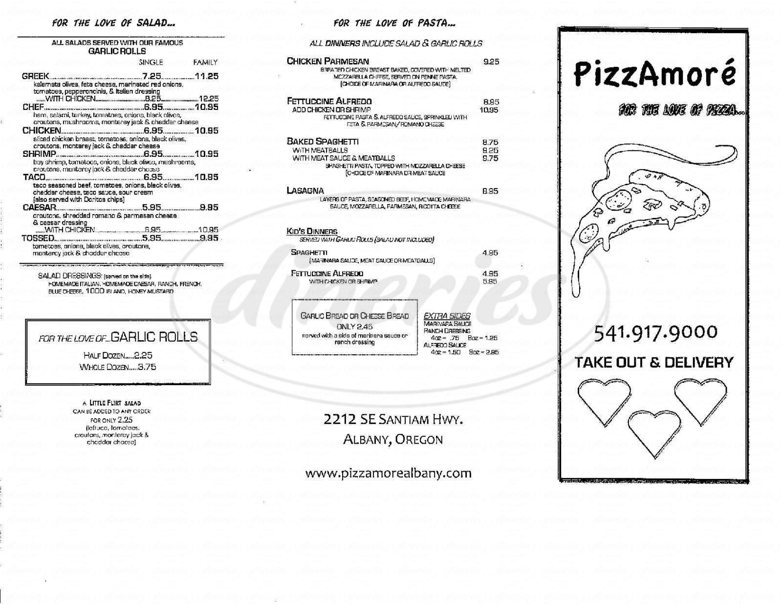menu for PizzAmoré