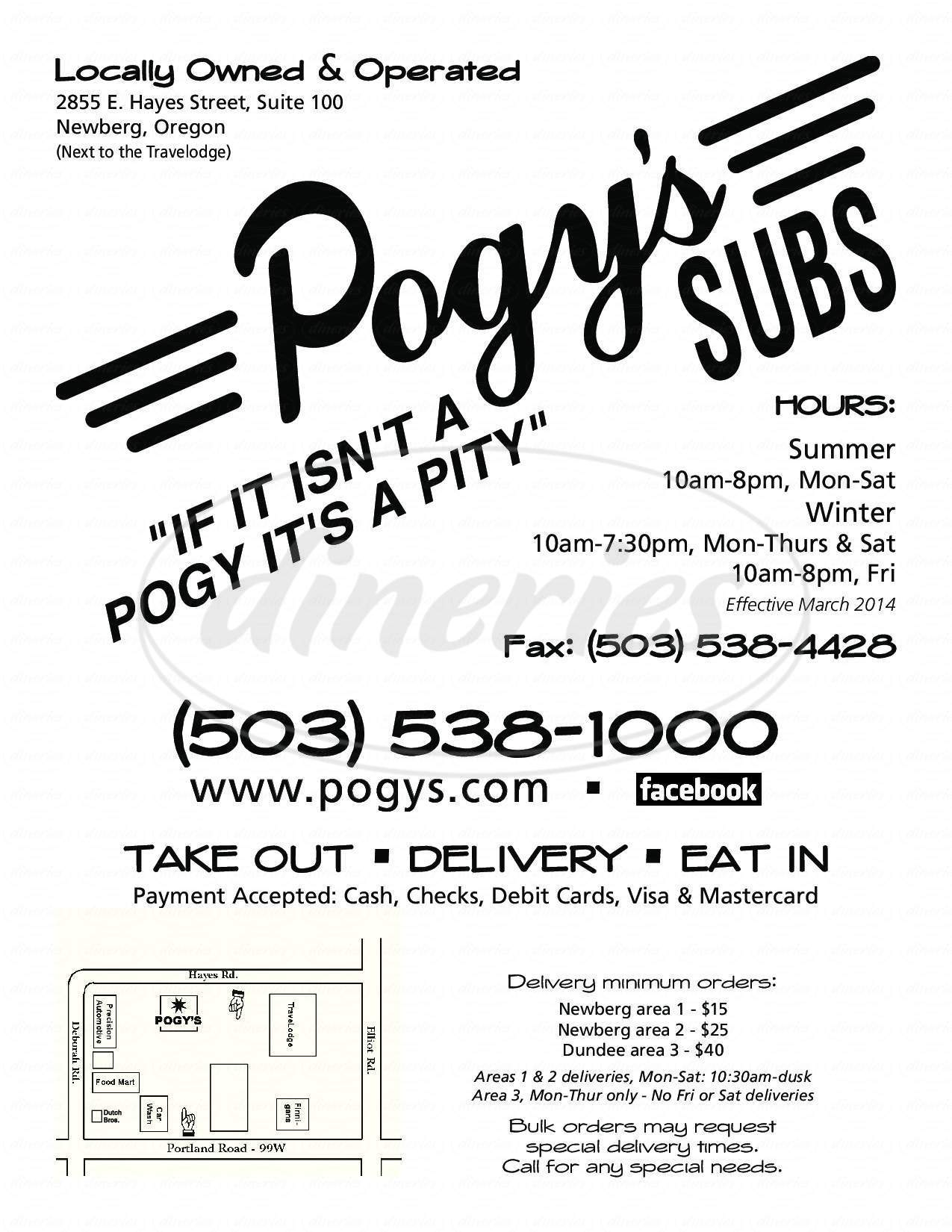 menu for Pogy's Sub