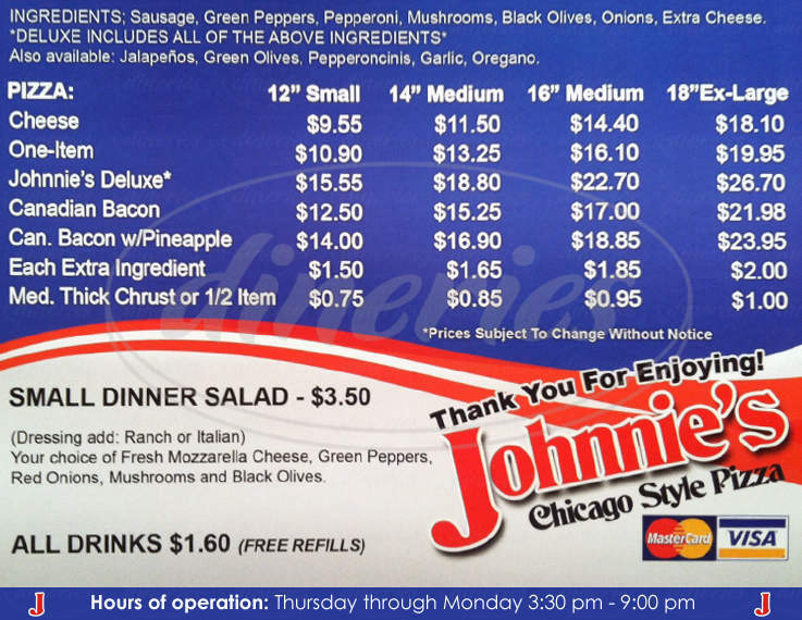 menu for Johnnie's Chicago Style Pizza
