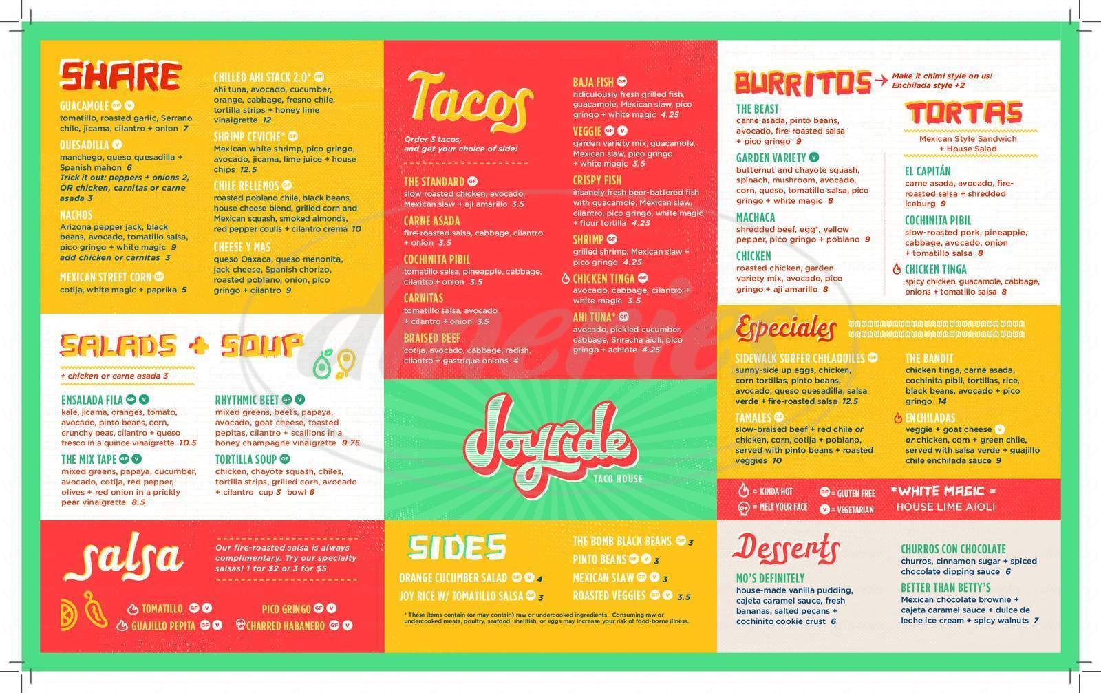 menu for Joyride Taco House