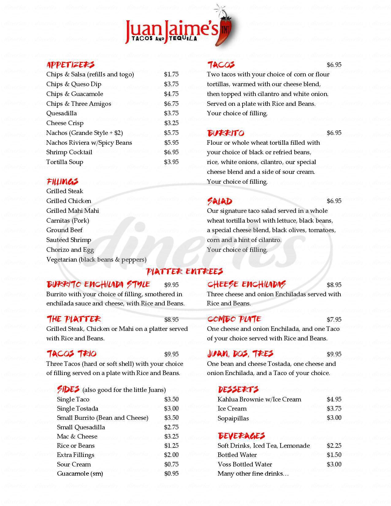 menu for Juan Jaime's Tacos and Tequila