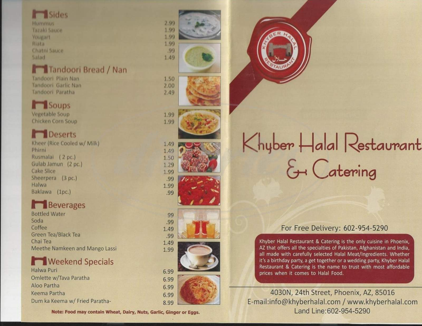 menu for Khyber Halal