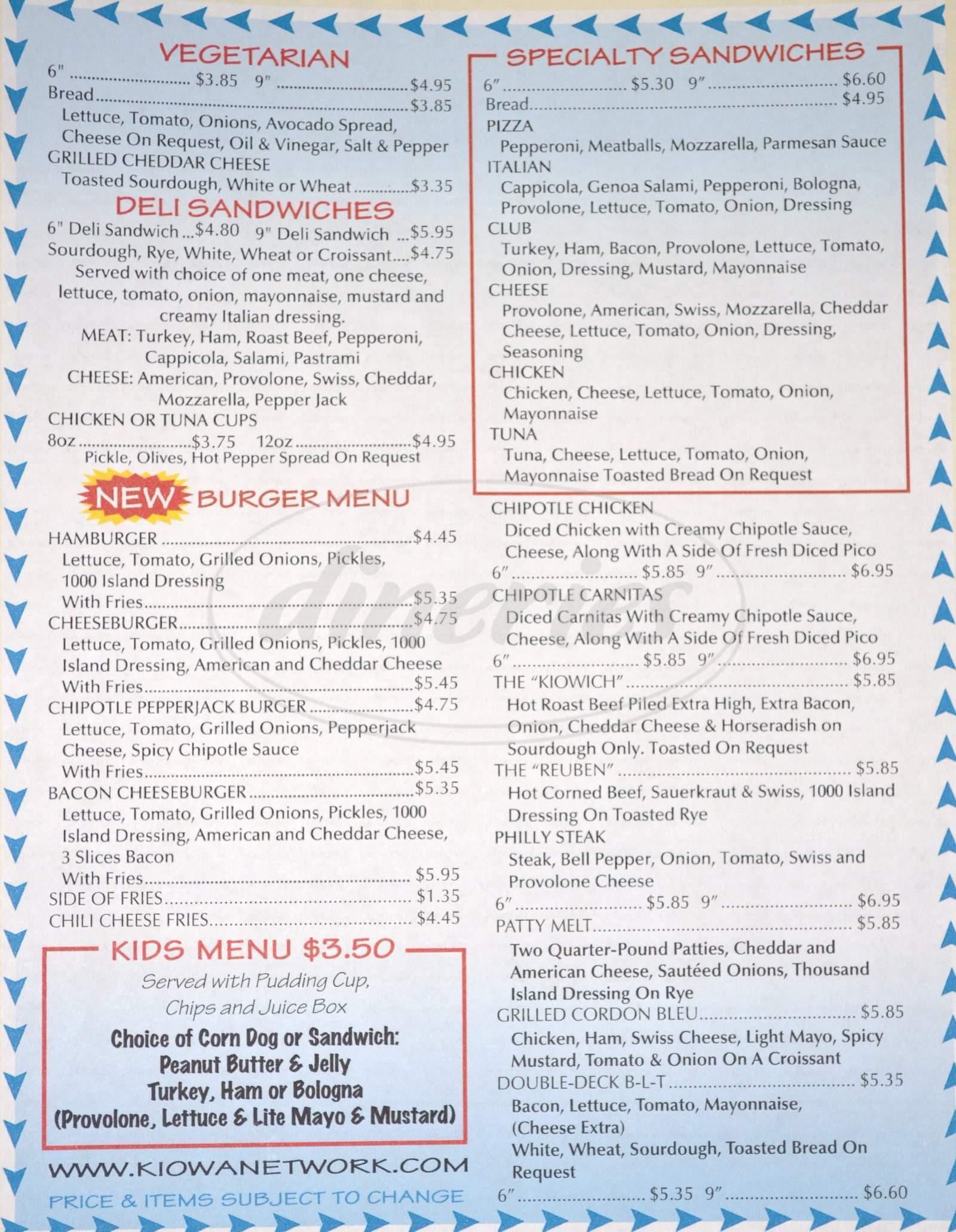 menu for Kiowa Drive Thru