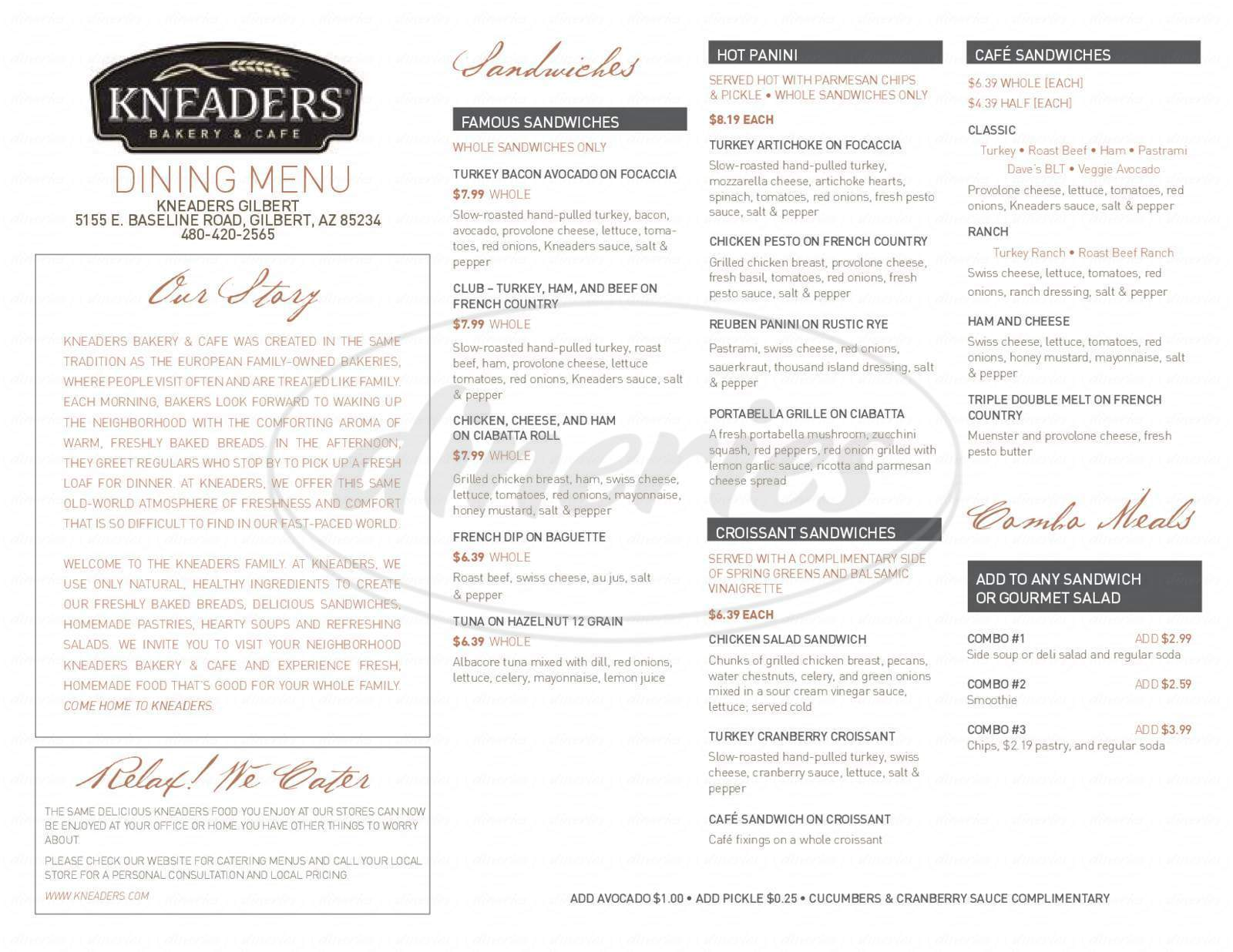 menu for Kneader's Bakery