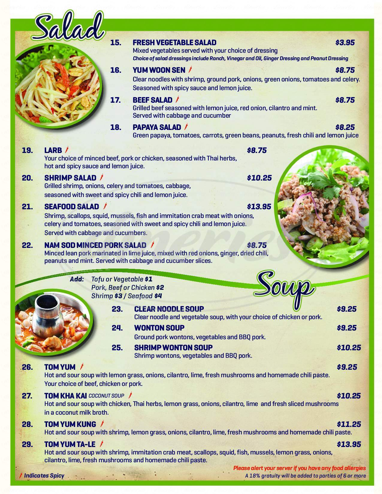 Krachai Thai Kitchen Menu - Phoenix - Dineries