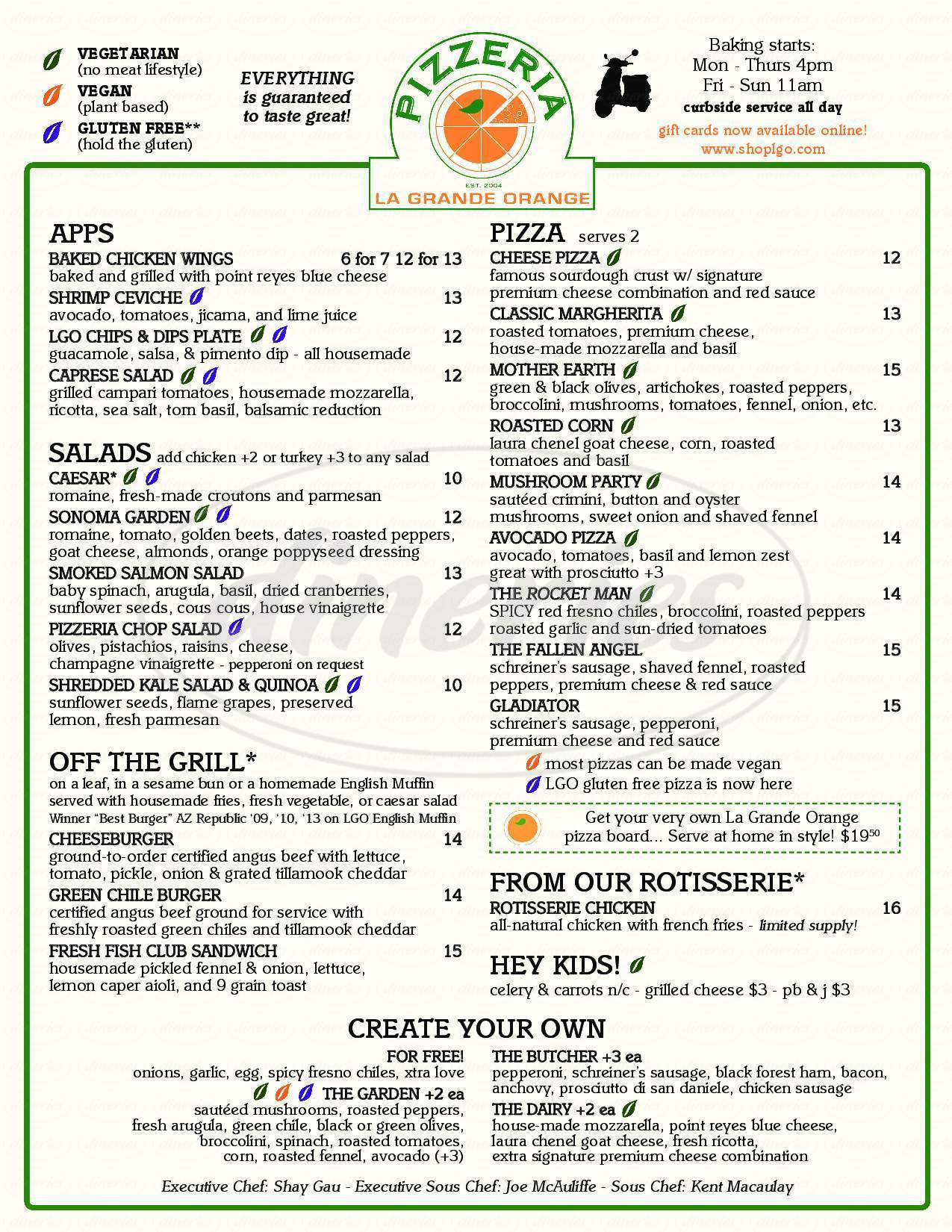 menu for La Grande Orange