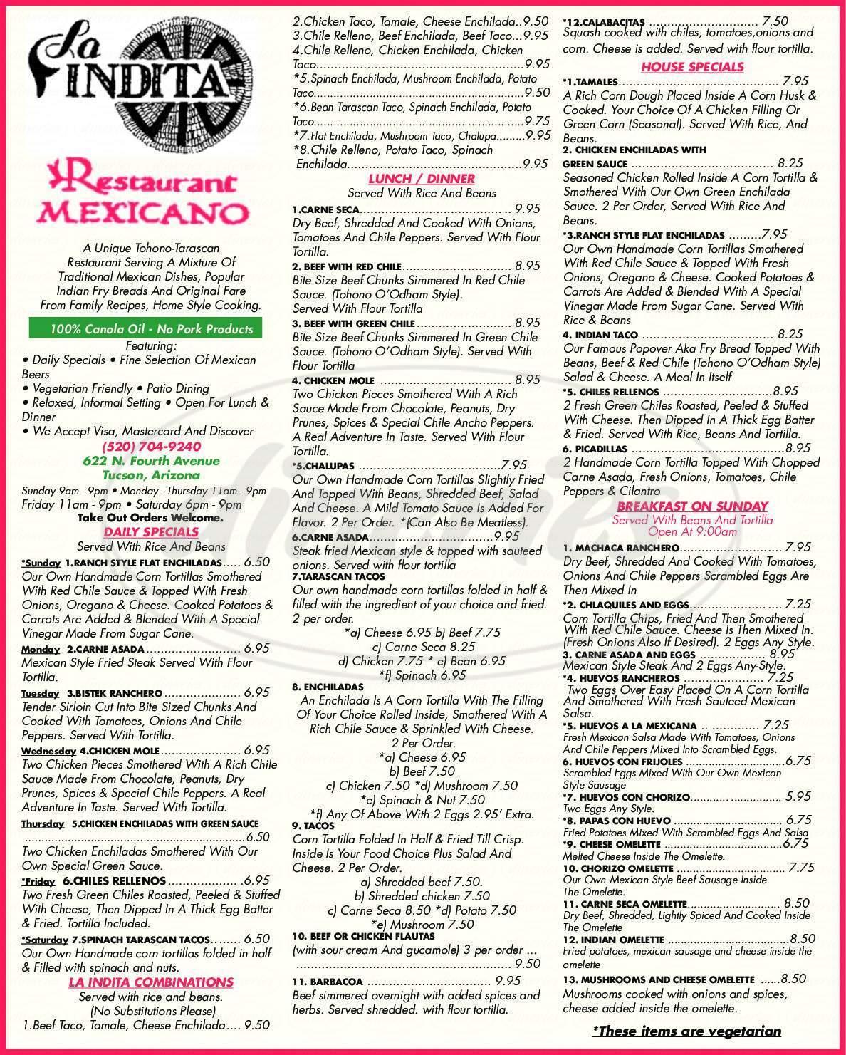 menu for La Indita