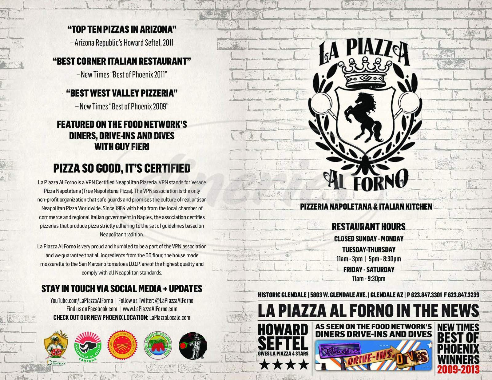 menu for La Piazza al Forno
