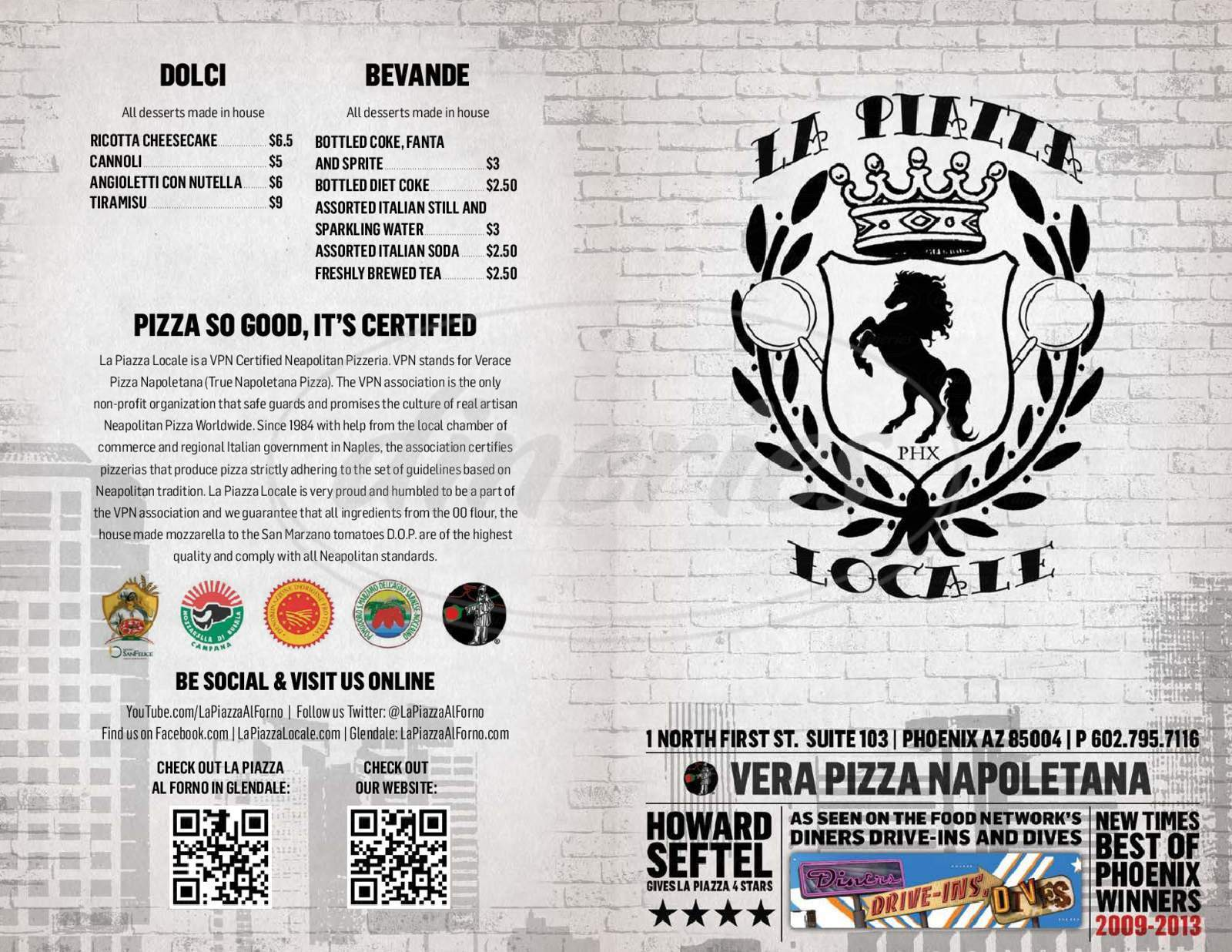 menu for La Piazza Locale