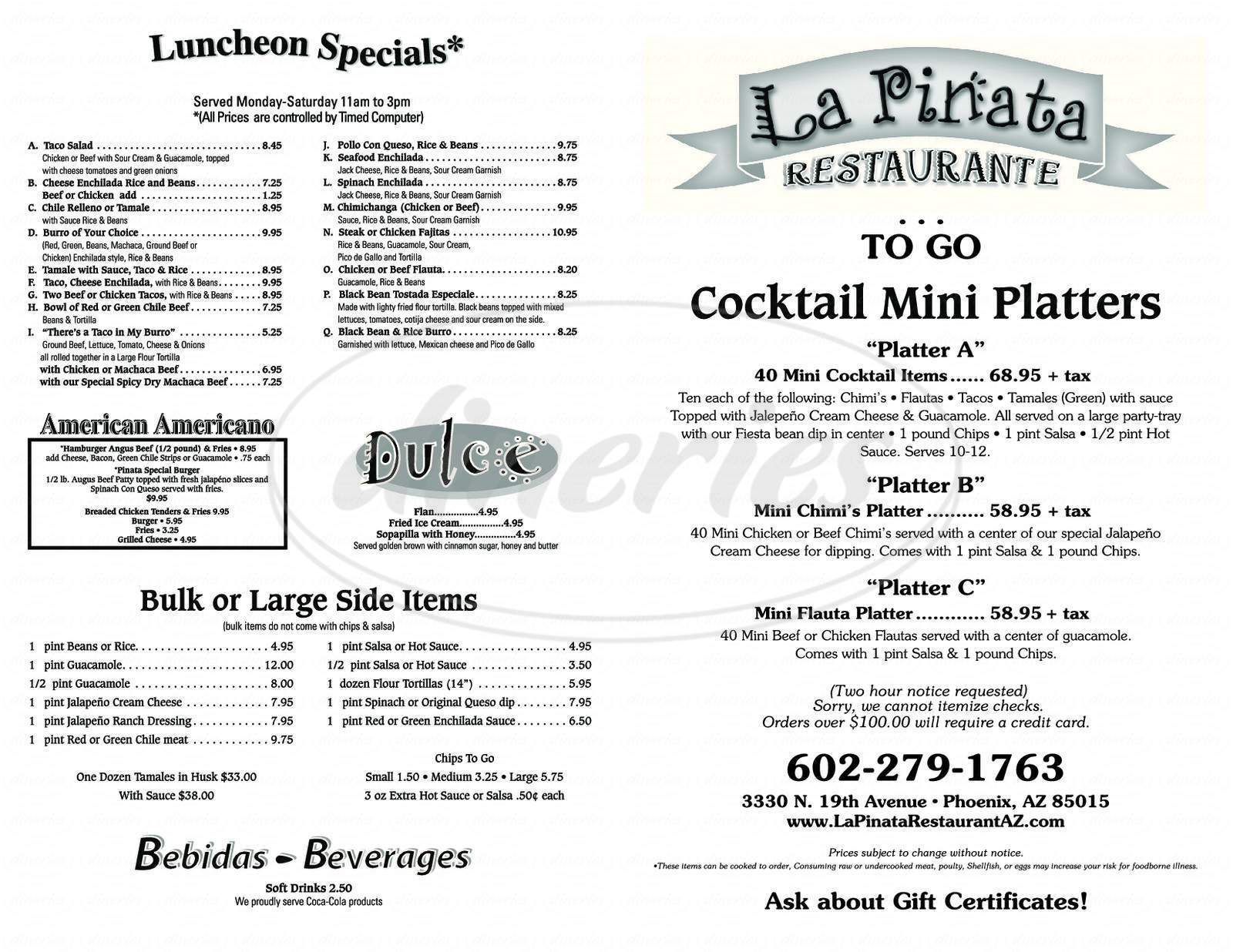 menu for La Piñata