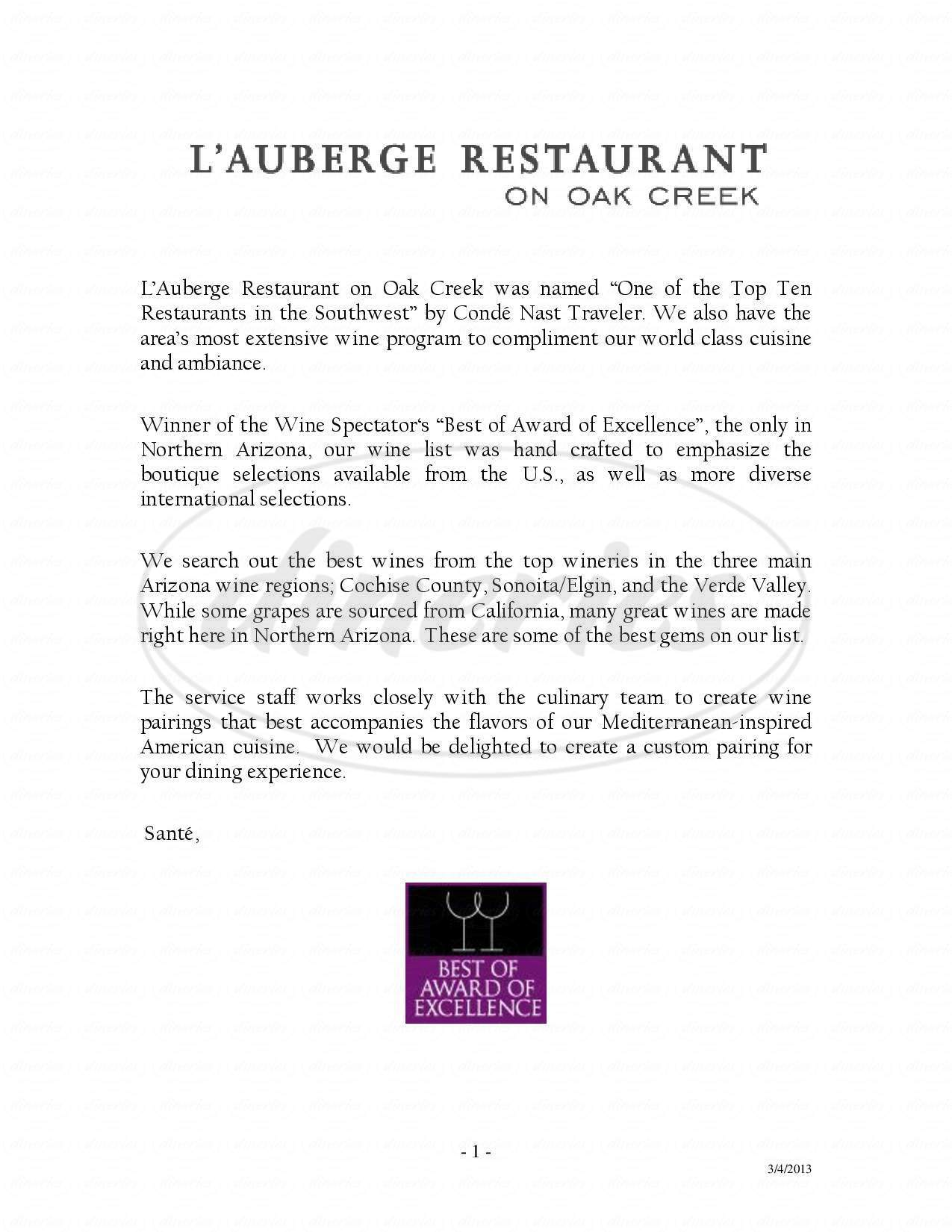 menu for L'Auberge Restaurant on Oak Creek