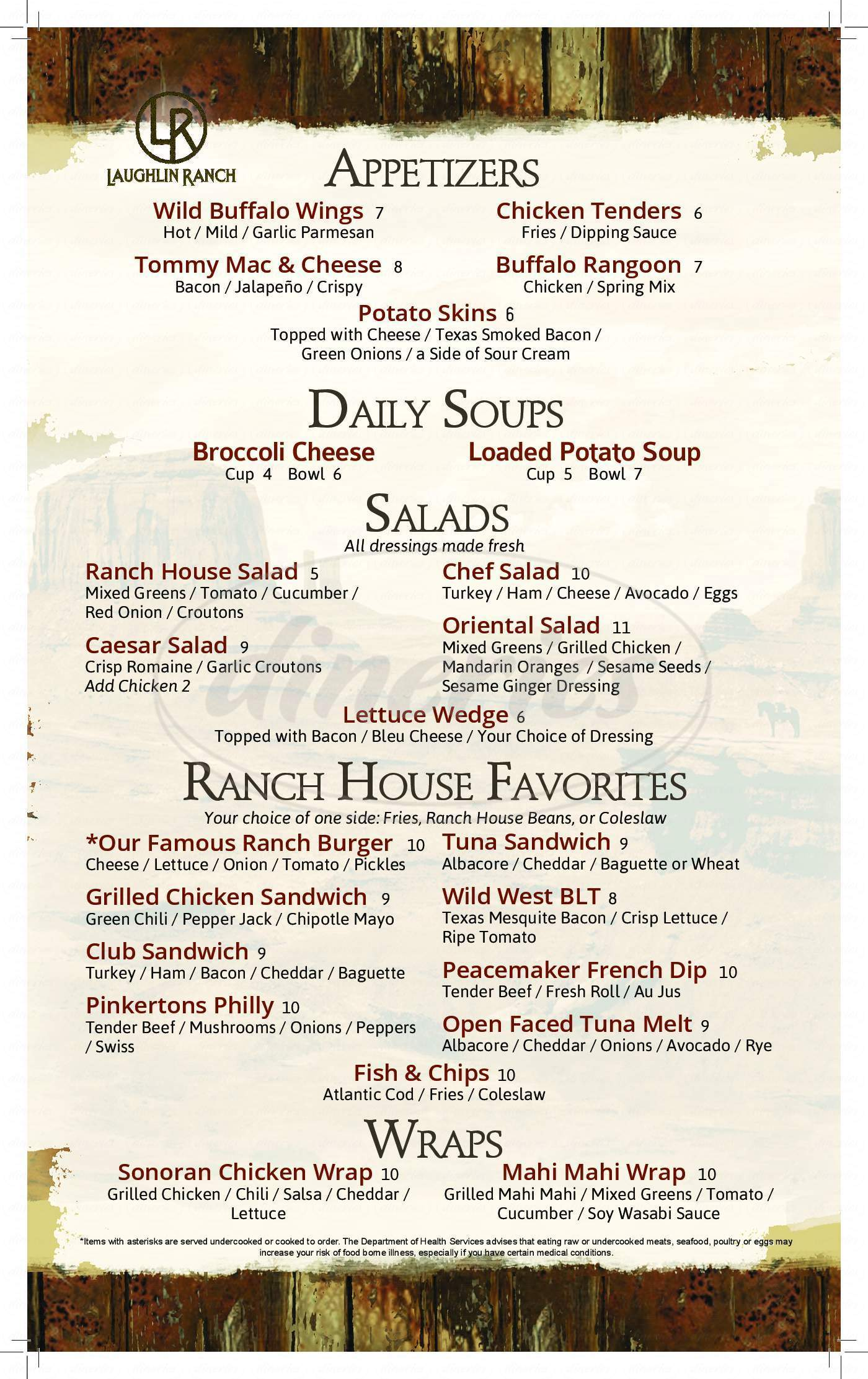 menu for The Grill At Laughlin Ranch