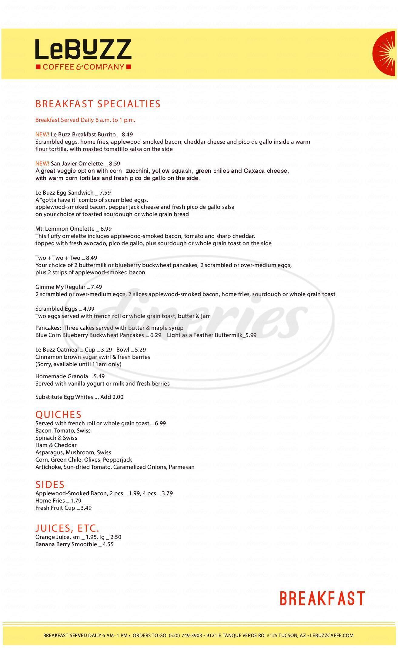 menu for Le Buzz