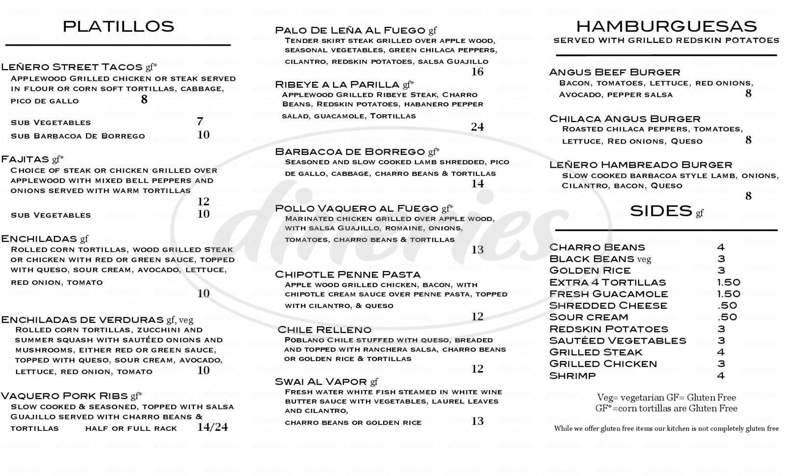 menu for Lenero Mexican Grill