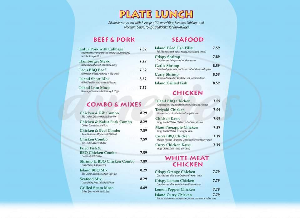 menu for Leo's Island BBQ