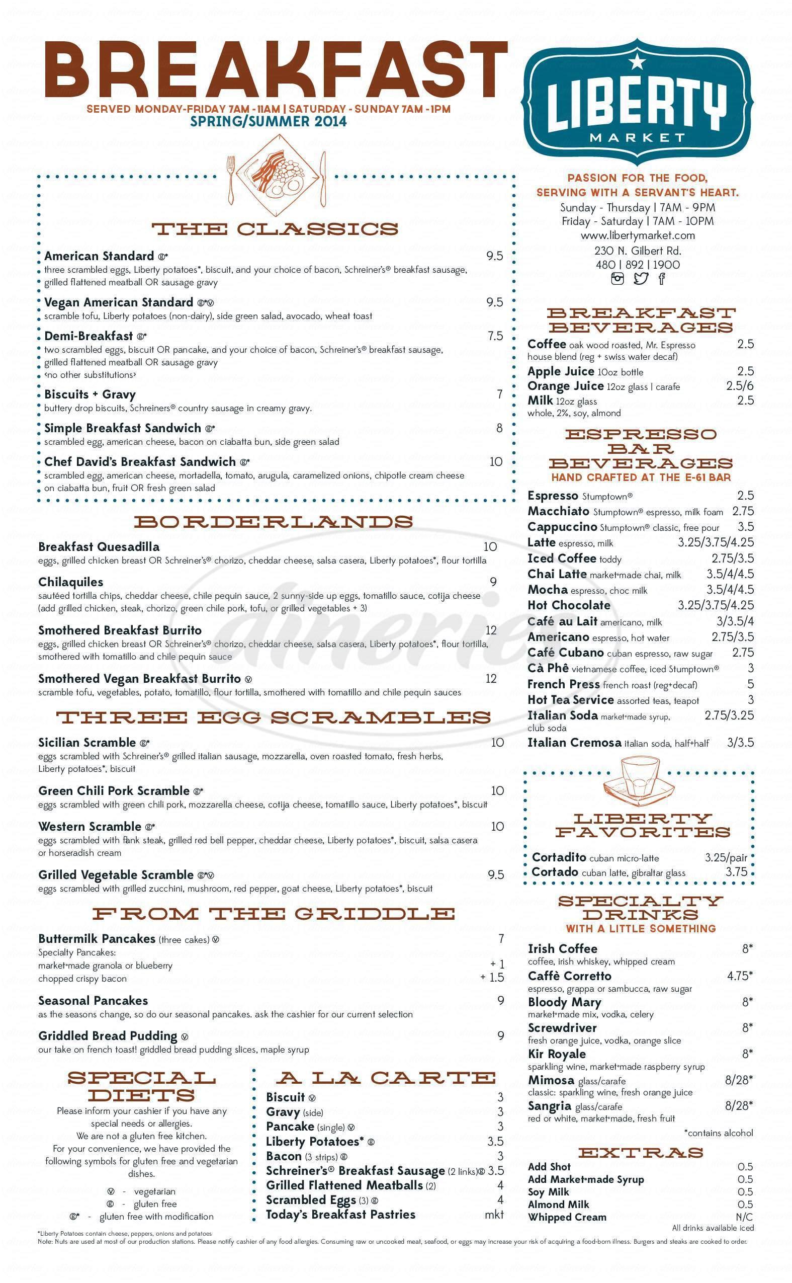menu for Liberty Market