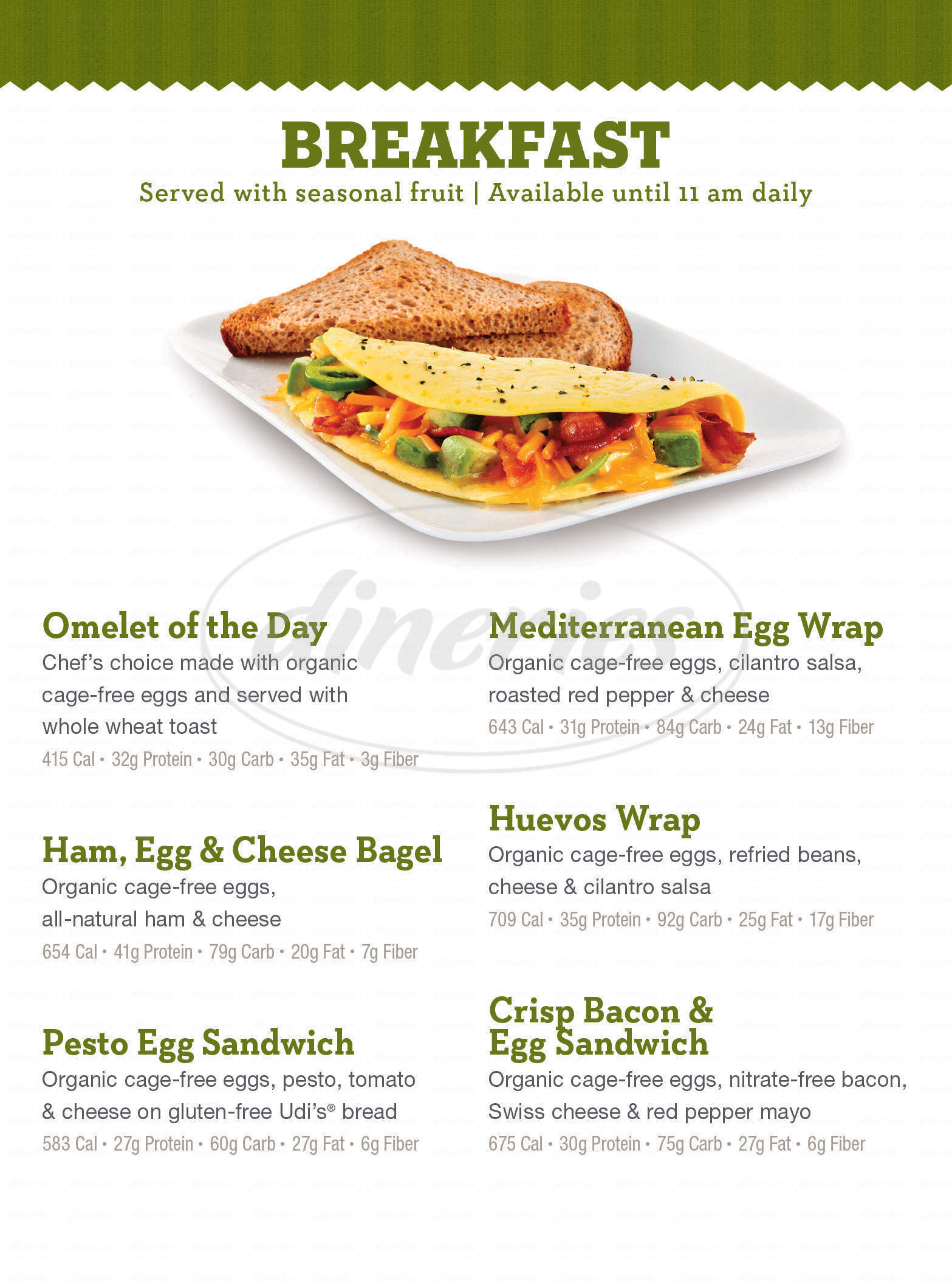 menu for Life Cafe