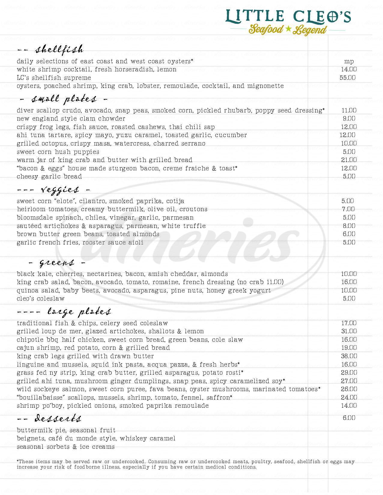 menu for Little Cleo's Seafood Legend