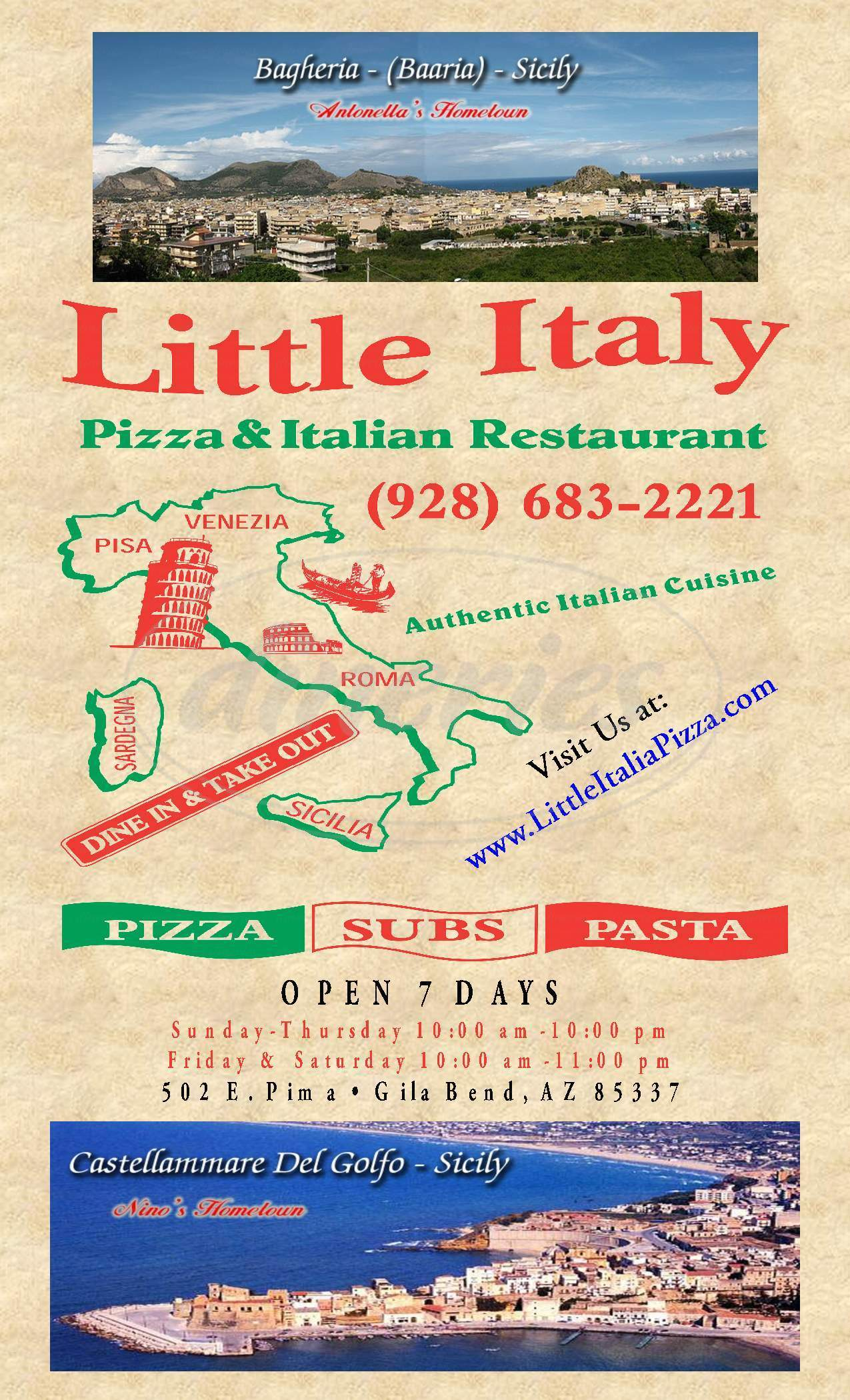 menu for Little Italy Pizza & Restaurant