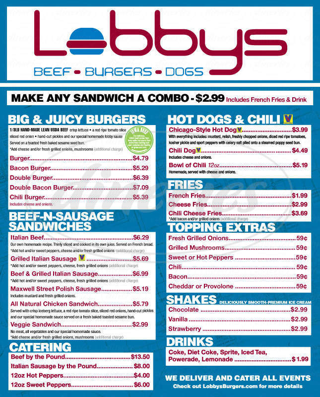 menu for Lobbys Burgers